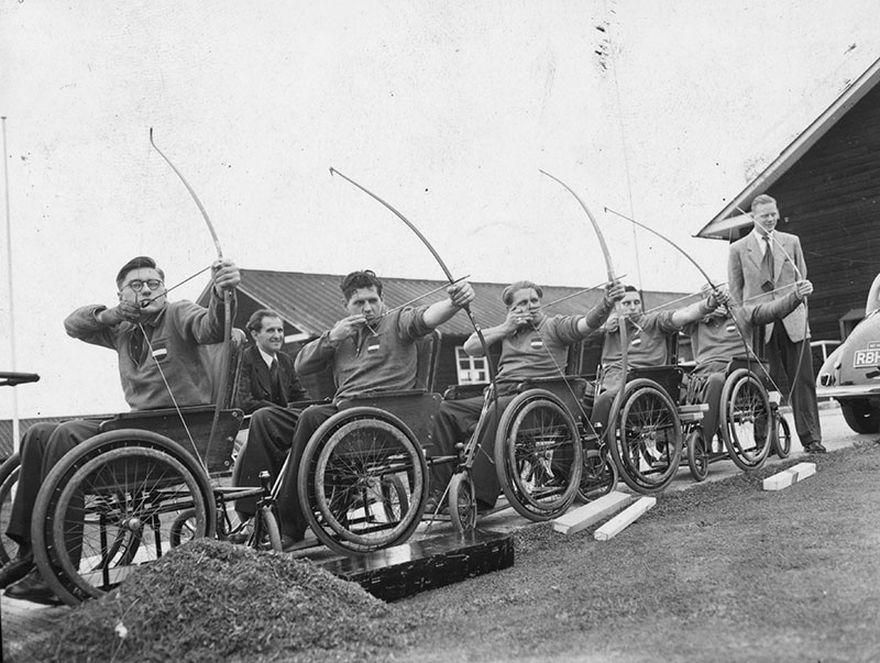 Patients Practicing Archery (1948) Ministry of Pensions Hospital, Stoke Mandeville Image Courtesy of Wheelpower and The Stoke Mandeville Archive